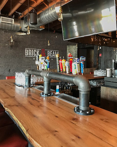 Reclaimed White Oak Bar Top at Brick & Beam Tavern in Quincy, MA