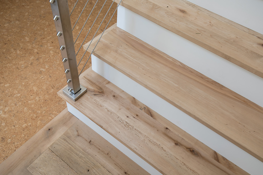 Reclaimed Maple Stair Treads in Private Home