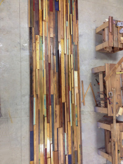 Mixed Reclaimed Woods Wall Paneling Under Construction