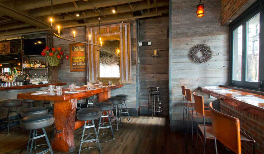 Salvaged Redwood Table and Barn Board in Cambridge, MA Restaurant