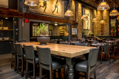 Reclaimed Oak Wood Table at Ledger Restaurant in Salem, MA