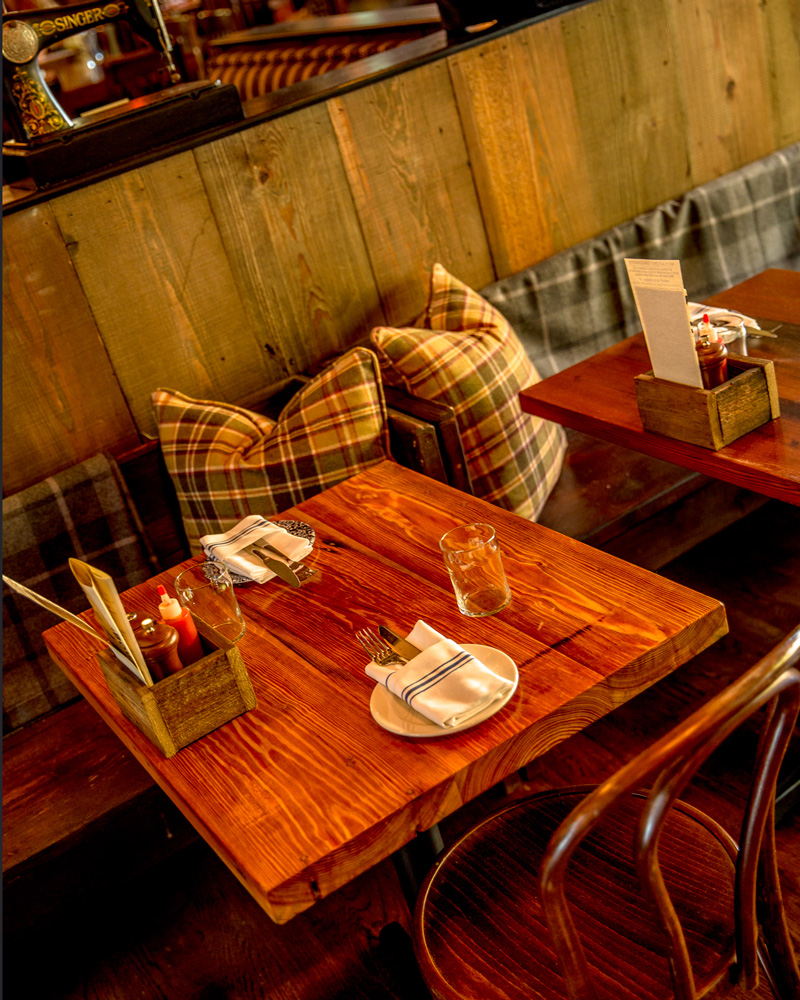 Reclaimed Heart Pine Cafe Restaurant Tables