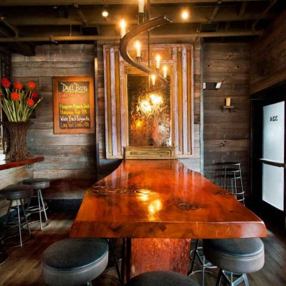 Salvaged Barn Board and Redwood Slab Table in Boston, MA Restaurant
