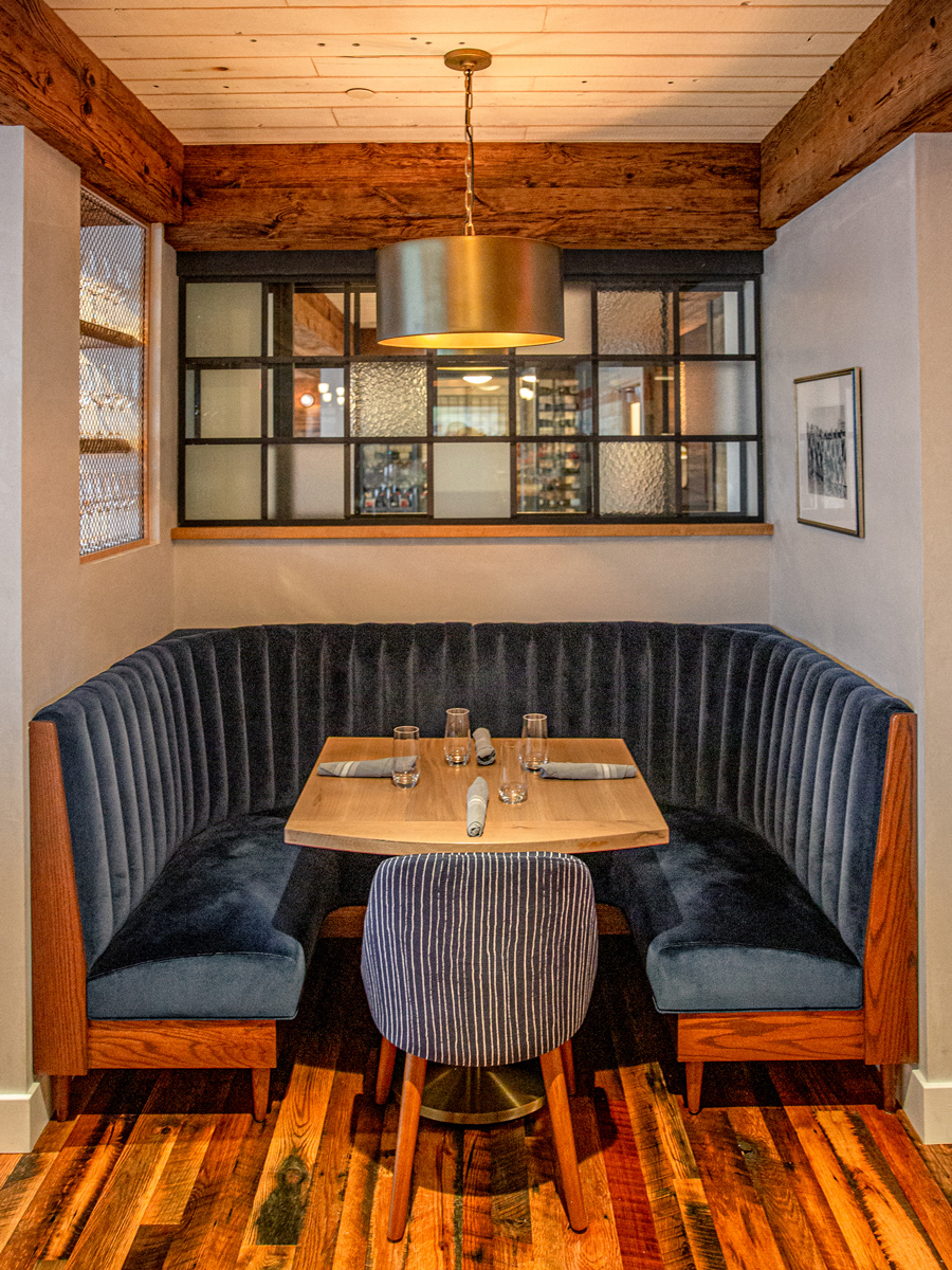Connecticut Restaurant With Reclaimed Oak Flooring and Mushroom Wood Beam Cladding