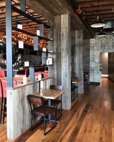 Reclaimed Oak Flooring and Spruce Tables at Brick & Beam Tavern in Quincy, MA