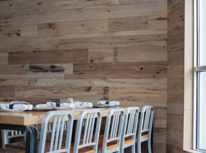 Reclaimed Oak Post & Beam Wood Paneling in Lowell, MA Restaurant