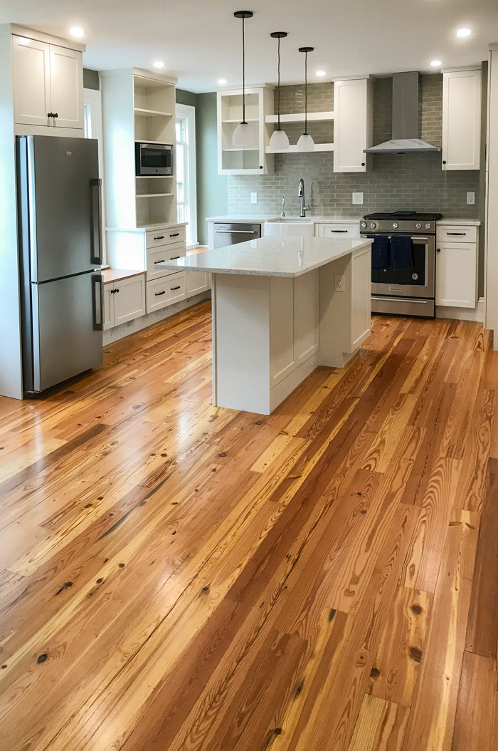 Rustic Reclaimed Heart Pine Flooring In Private Home