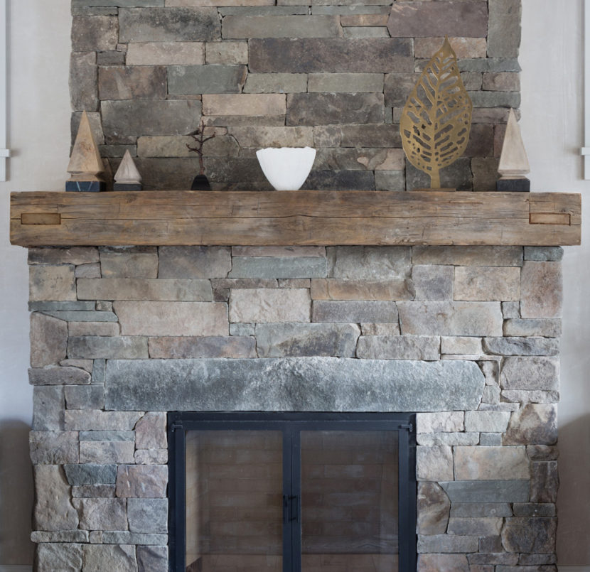 Antique Hand-Hewn Mantel and Ceiling Beam in Private Home