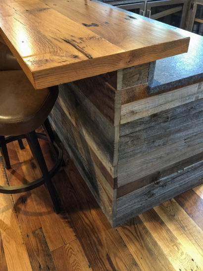 Skip-Planed Reclaimed Oak Flooring, Oak Bar Top, and Bar Barn Siding