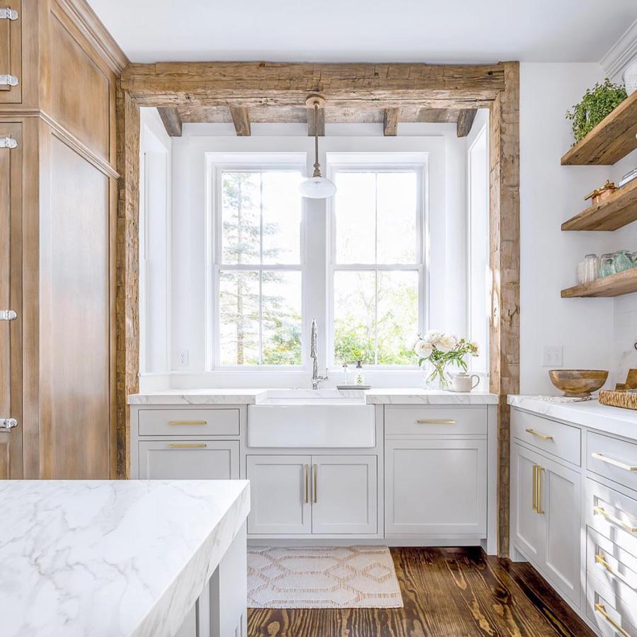 Reclaimed Hand-Hewn Beam In Kitchen