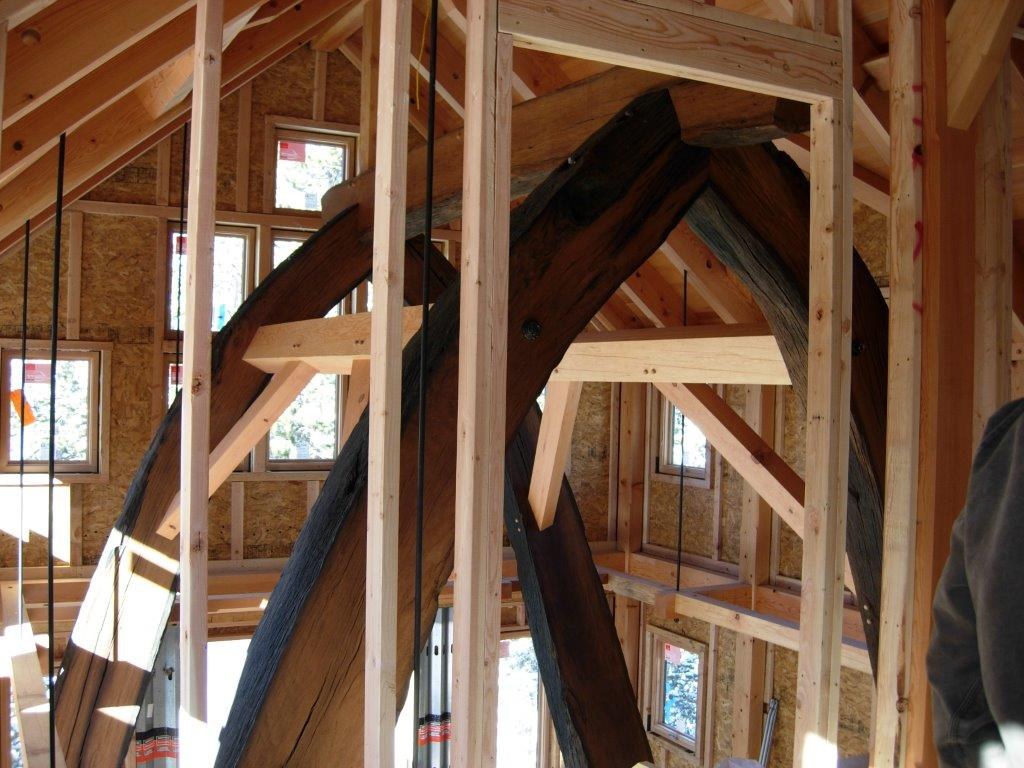 Longleaf lumber reclaimed live oak timber frame for Salvaged timber beams