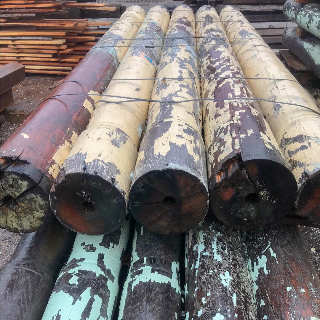 Salvaged Oak Mill Columns