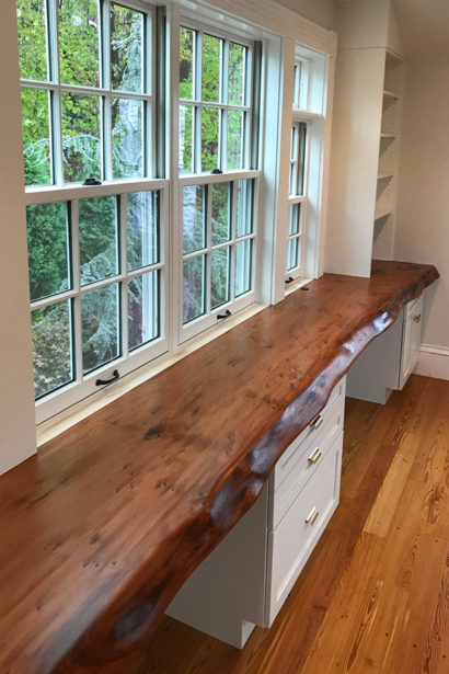 Salvaged Redwood Slab Desk & Reclaimed Heart Pine Flooring in Home Office