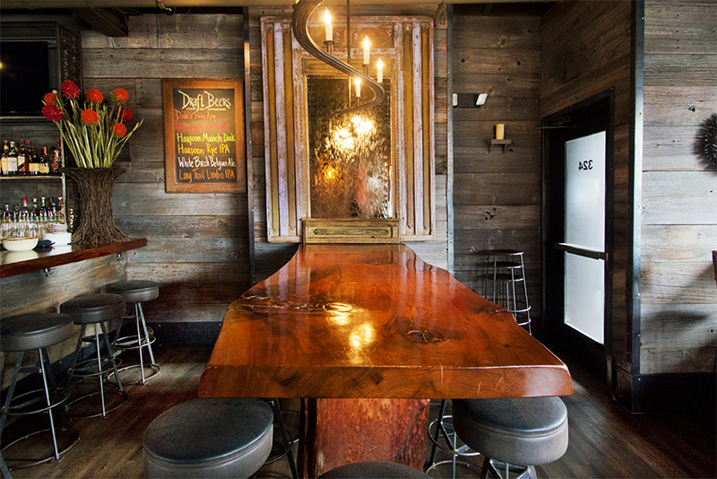 Salvaged Redwood Table in Cambridge, MA Restaurant