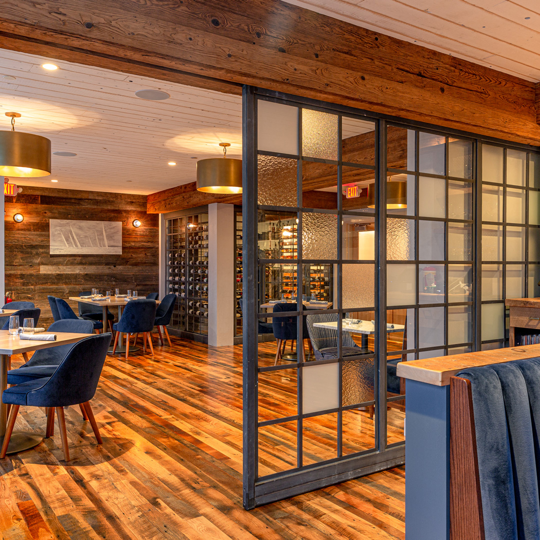 Connecticut Restaurant With Barn Board Paneling, Reclaimed Oak Flooring, and Mushroom Wood Beam Cladding