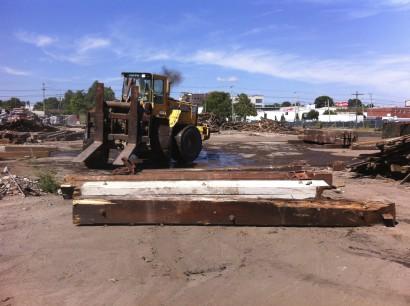 Reclaimed Heart Pine beams from Atlas Terminal warehouse in Providence, Rhode Island.