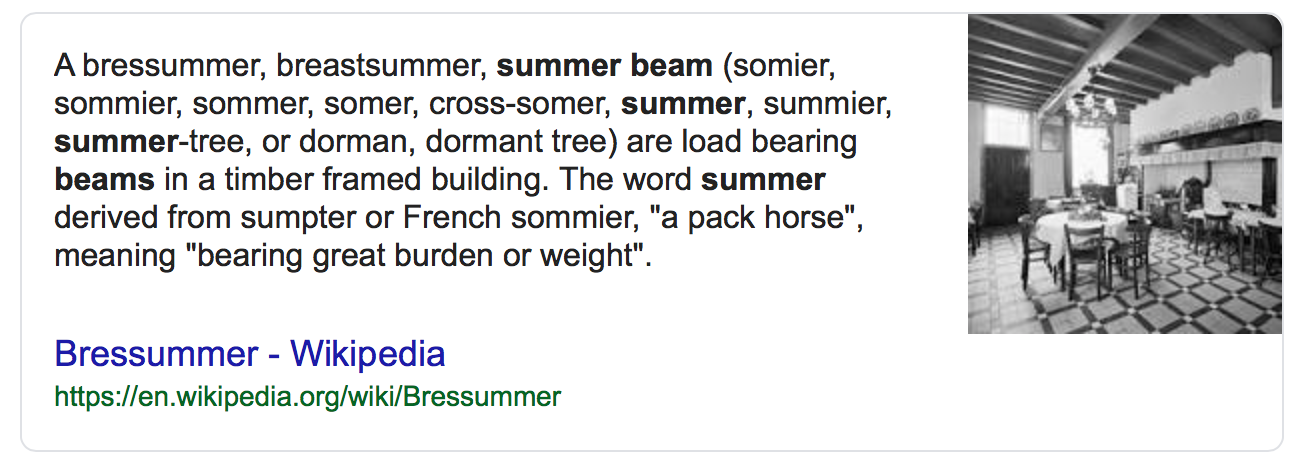 Summer Beam Information From Wikipedia