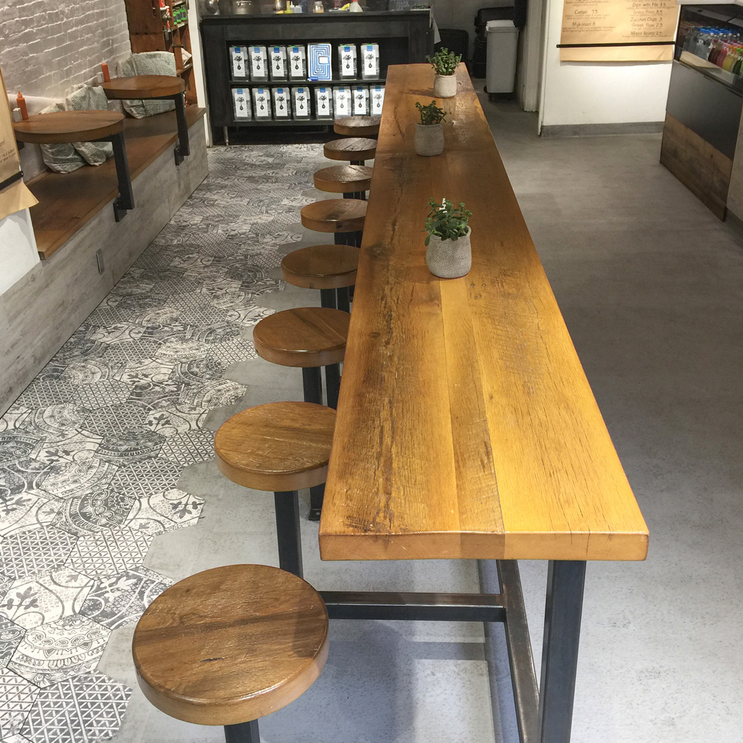 Reclaimed White Oak Seating And Tables At Boston Restaurant
