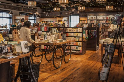 Reclaimed maple flooring at An Unlikely Story bookstore
