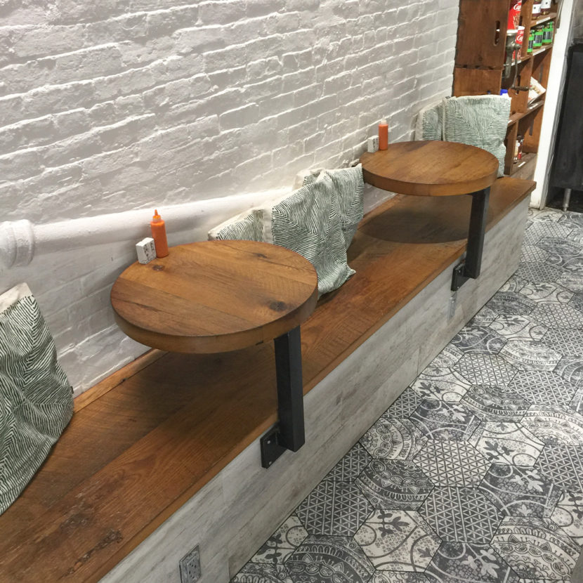 Reclaimed Oak Tables and Seating in Boston Restaurant