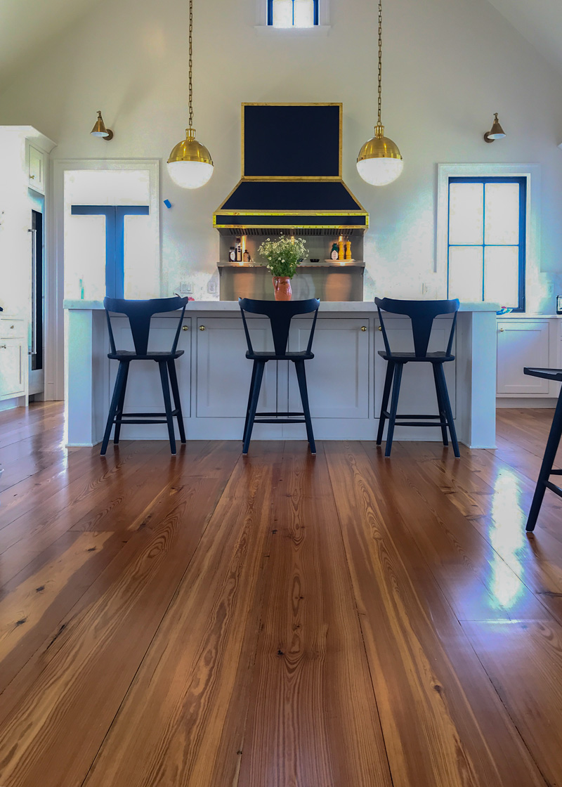 Wide Reclaimed Heart Pine Flooring in Private Home