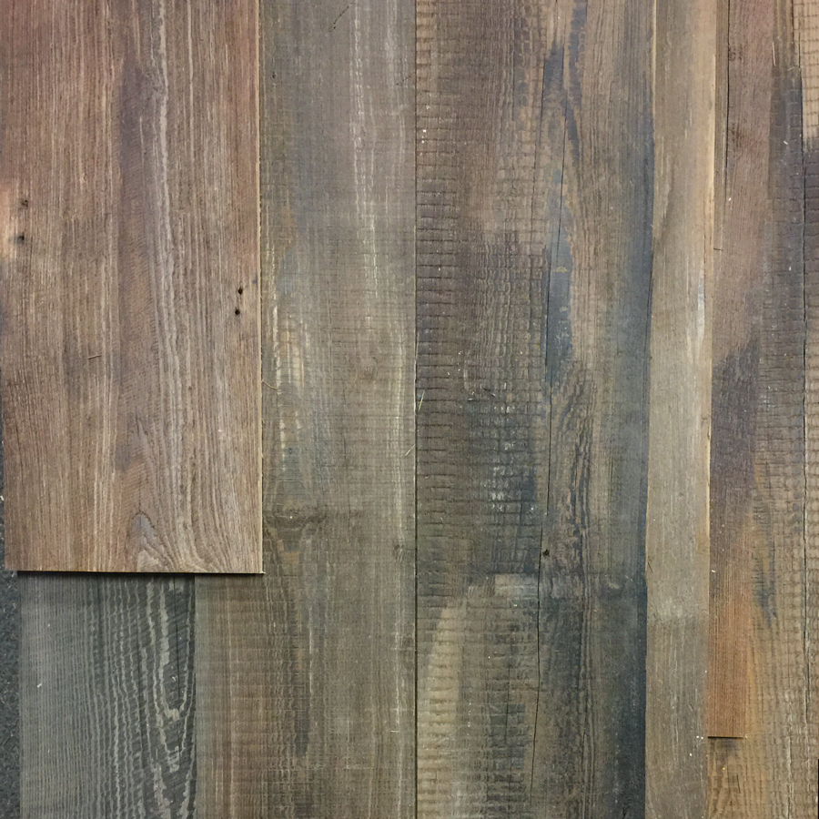 "Wire-Brushed 1/2"" Paneling From Reclaimed Heart Pine Joists"