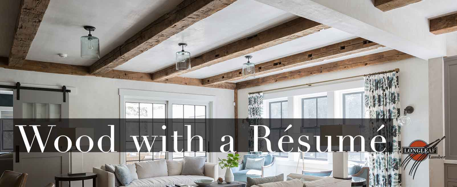 Longleaf Lumber Salvaged Antique Beams On Ceiling In Private Home